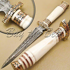 CUSTOM HAND MADE DAMASCUS STEEL HUNTING DAGGER KNIFE HANDLE CAMEL BONE