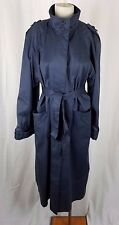 Vintage 1960's Funnel Neck Belted Tie Cape Top All Weather Trench Coat Womens 14