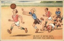 Soccer Football Comic - Man Running Balancing Ball on Nose Postcard