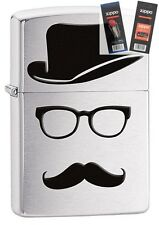 Zippo 28648 moustache and hat Lighter with *FLINT & WICK GIFT SET*