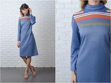 Vintage 70s Blue Mod Dress Red Striped A Line Ribbed Medium M