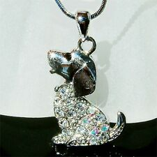 w Swarovski Austrian Crystal ~BEAGLE puppy DOG~ pet charm Pendant Chain Necklace