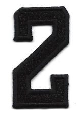 "NUMBERS - Black Number ""2"" (1 7/8"") - Iron On Embroidered Applique/Numbers"