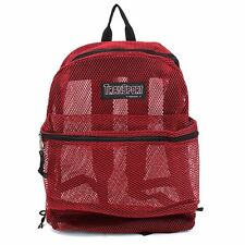 Red Transport See Through Mesh Backpack Book Bag Student Gym Travel Day Pack!