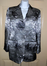 vintage Moschino Cheap & Chic silver pewter floral newsprint blazer jacket 10