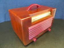 VINTAGE 40s GENERAL ELECTRIC ART DECO OLD TRANSLUCENT RED CATALIN BAKELITE RADIO