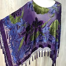 Women's Dress Top Poncho Shawl Velvet Silk Burnout Floral Bead Fringe Kimono