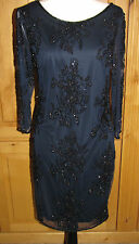 New PISARRO NIGHTS Beaded Mesh Shift Dress Navy Blue Black Beads 3/4 Sleeve 4