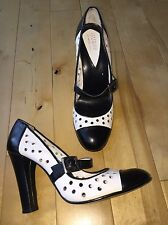 6M - GUESS BY MARCIANO White & Black Mary Jane Perforated Heels Pumps Shoes