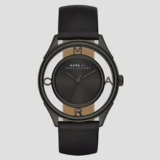 new + box ladies Marc by Marc Jacobs MBM1379 TETHER SKELETON black leather WATCH
