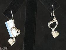 Genuine Diamond Double Heart Dangle Earrings, Sterling Silver