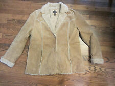 Giacca Leather (Suede) w/ Faux Fur 2 Button Jacket Womans (XL)