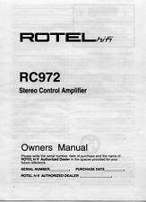 Rotel RC-972 Amplifier Owners Manual