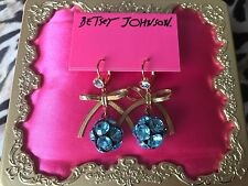 Betsey Johnson Snow Angel Light Blue SPARKLY Crystal Ball Gold Bow Earrings