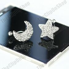 COMFY U CLIP ON star moon CRYSTAL EARRINGS asymmetrical STARS silver rhinestone
