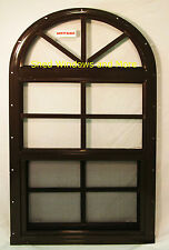 NEW Arched Shed Window Safety Glass Brown Playhouse Storage Shed Barn Round Coop
