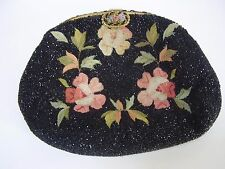 ANTIQUE FRENCH DECO MICRO BEAD EMBROIDERY FLOWER GILT FILLIGRE CLASP CLUTCH BAG