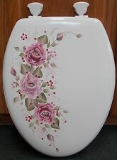 HAND PAINTED  ROSES/TOILET SEAT/BURGUNDY & MAUVE /ELONGATED