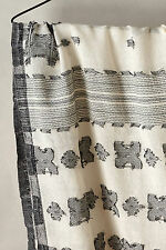 Anthropologie Cream Black Silver Thread Large Wool & Cotton Scarf By Shingora