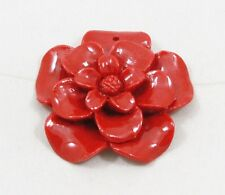 Natural red CORAL flower bead / strand 34mm(w) x 34mm(l) - 1 bead
