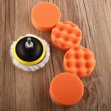 "7Pcs 4""sponge Polishing waxing Buffing Pads Kit Compound-Auto Car Drill Adapter"
