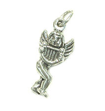 STERLING SILVER CHARM Religious ANGEL with HARP