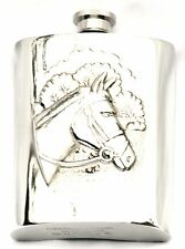 Horse Head Pewter Hip Flask Ideal Rider Owner Equestrian Gift Boxed Present