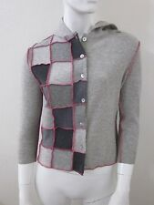 claudette 100% Re-Cycled Cashmere and Leather Patchwork Cardigan Sweater Size S