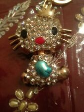 New CUTE!! Hello Kitty Crystal KeyChain with keyring Blue