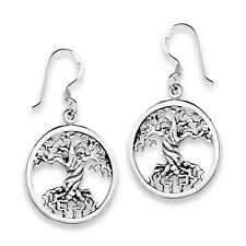 925 Sterling Silver CELTIC TREE OF LIFE Deep Root Knot Work Earrings Hook Dangle