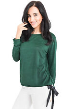 Ladies Long Sleeve Shirt Top Blouse meliert Satin Ribbon S 34 36 Party Club