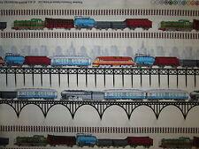 TRAINS RAILROAD MODEL TRAIN BORDER CREAM COTTON FABRIC FQ