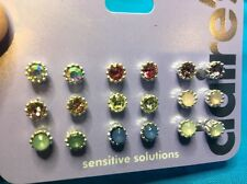 Nine Pairs Of Claire's Colored Rhinestone Pierced Earrings New