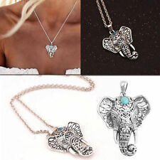 Charm Retro Boho Pendant Necklace Ethnic Turquoise Elephant Choker Chain Jewelry