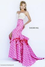Sherri Hill 32236 Ivory Pink Mermaid Gown Dress sz 6