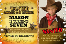 COWBOY WESTERN HORSE BIRTHDAY PARTY INVITATION baby shower COWGIRL  invite  a4