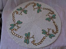 """KIM SEYBERT 15"""" GOLD WHITE AQUA DRAGONFLY BUTTERFLY BEADED PLACEMAT CHARGER  NEW"""