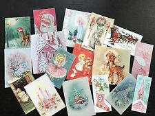 BB64 Lot of 17 Adorable VINTAGE PINK PASTEL CHRISTMAS GREETING DIE CUTS 4 crafts