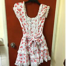 GLP Gothic Punk Lolita Red White Ruffled Lace Bow Kawaii Cosplay Dress Size M