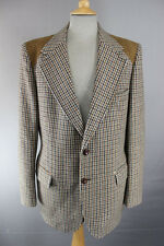 M&S PURE WOOL SUEDE TRIMMED BROWN TWEED JACKET 42 INCH (LONG)
