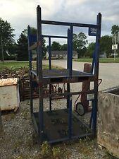 2 Steel Forklift Stackable Material Baskets Skids Metal Crates Fork Pockets