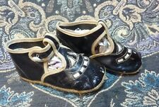 Victorian Antique Black patent Leather Doll Child Shoes ~ openwork DARLING