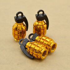 4Pcs Grenade Design Car Truck Bike Wheel Rims Stem Air Valve Cap Tyre Cover Gold