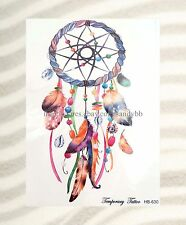 "US SELLER-feather dreamcatcher large 8.25"" half-sleeve arm tattoo fake tatto"