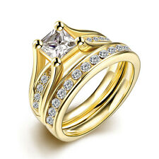 2 Pcs/​​Set Steel Gold Plated Marriage Wedding Rings With Zircon LS