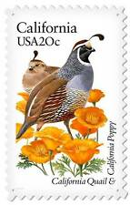 US Postage Stamp California Quail Poppy Flower Metal Sign Wall Decor USPS041