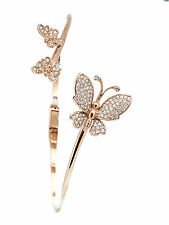 14k Rose Gold Diamond Triple Butterfly Bangle Bracelet