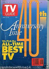 TV GUIDE  40TH ANNIVERSARY ISSUE–APRIL 17-23, 1993 - ALL-TIME BEST TV-COLLECTORs