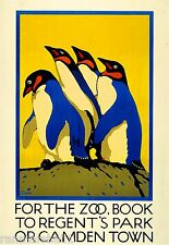 London Regent's Park Zoo Penguin Great Britain England Advertisement Art Poster