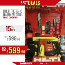 HILTI TE 16-C HAMMER DRILL, IN GREAT CONDITION, FREE BITS, HILTI ITEMS,FAST SHIP